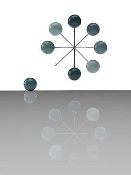 Driedimensionaal zwevend wiel met surrealistisch effect van shoott photography