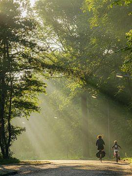 Fietsen in de mist von Dirk van Egmond