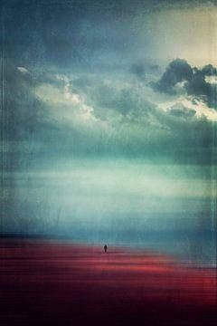 Genieten van rust en stilte - Eenzame wandelaar op het strand van Dirk Wüstenhagen
