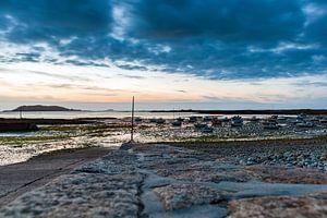Haven van Port Le Epine, Bretagne,  bij zonsondergang