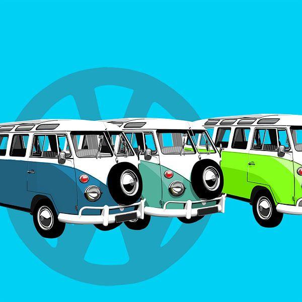 Vw-busjes op blauw