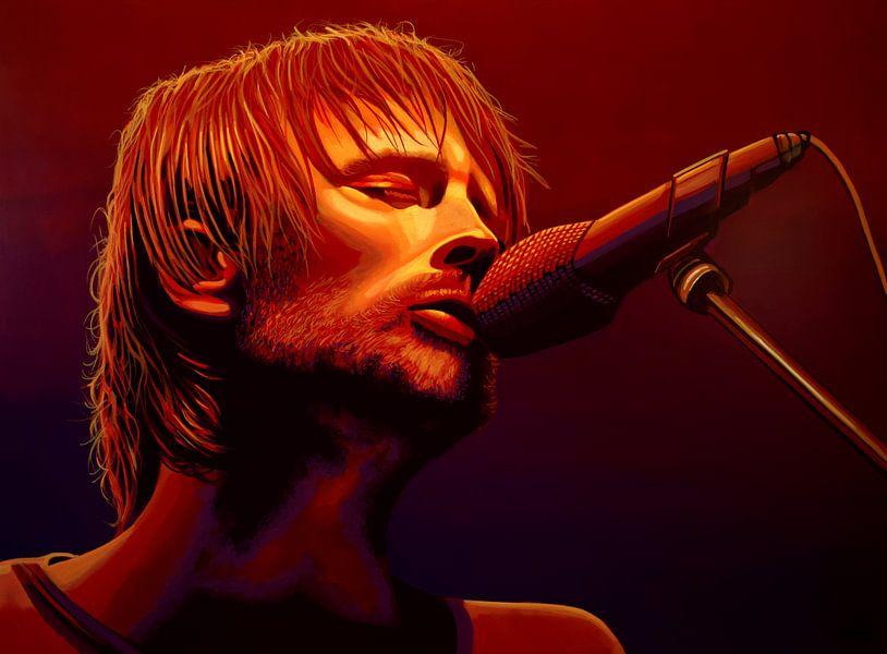 Thom Yorke of Radiohead Schilderij van Paul Meijering
