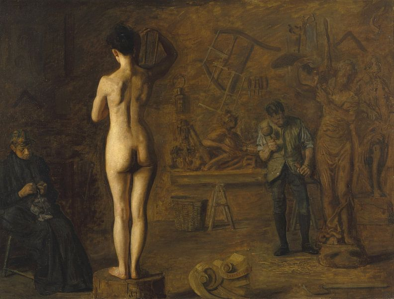 William Rush Carving His Allegorical Figure of the Schuylkill River, Thomas Eakins von Meesterlijcke Meesters