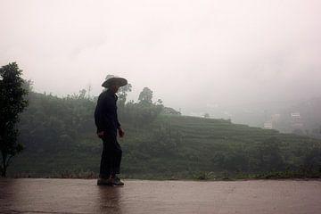 Silhouet van Chinese boer von André van Bel