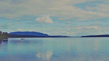 Fischer auf einem Boot auf einem See zwischen Wald und Bergen - Gemälde von Schildersatelier van der Ven