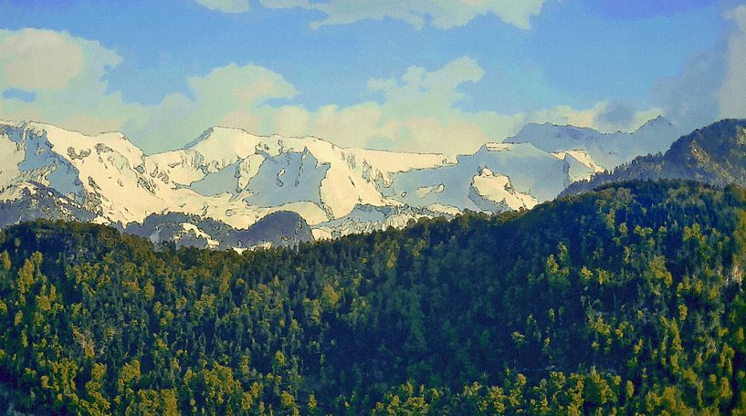 Bos Bergen Sneeuw van Schildersatelier van der Ven