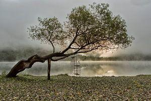 Boracko-Jezero (Bosnie) in de mist. van