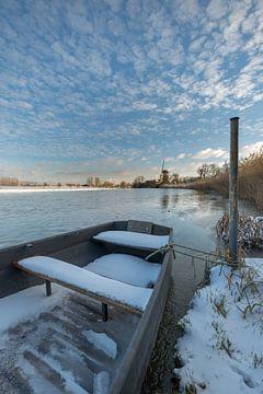 Molen de Vrijheid aan rivier de Linge van Moetwil en van Dijk - Fotografie