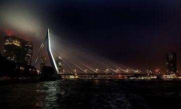 Erasmus-Brücke bei Nacht von Jan van Reij