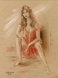 Vrouw in rode kleding van