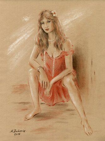 Vrouw in rode kleding van Marita Zacharias
