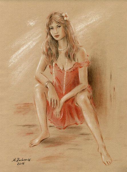 Vrouw in rode kleding