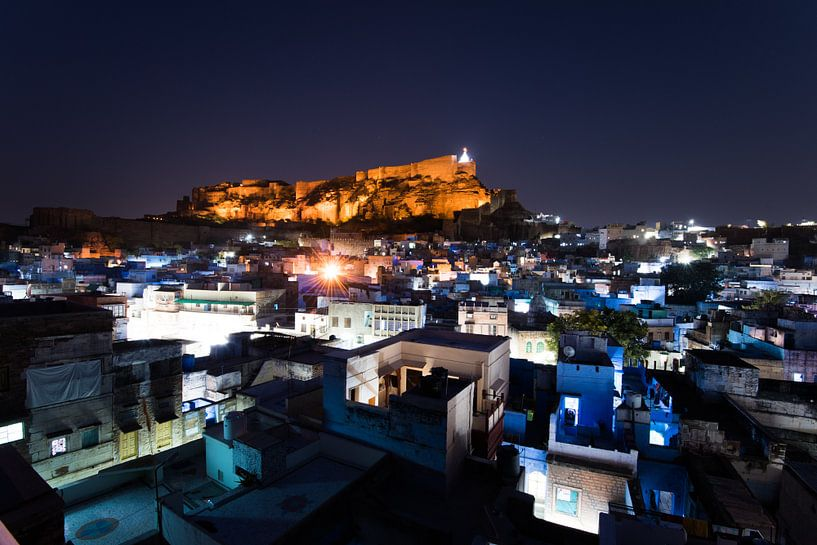 Jodhpur, blue city of rajasthan, india van Mark Bonsink