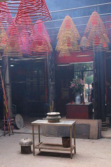 Mystic smoky Buddha temple, Hongkong