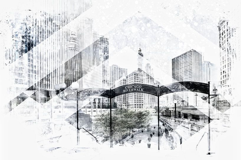 Geometric Art CHICAGO Downtown van Melanie Viola