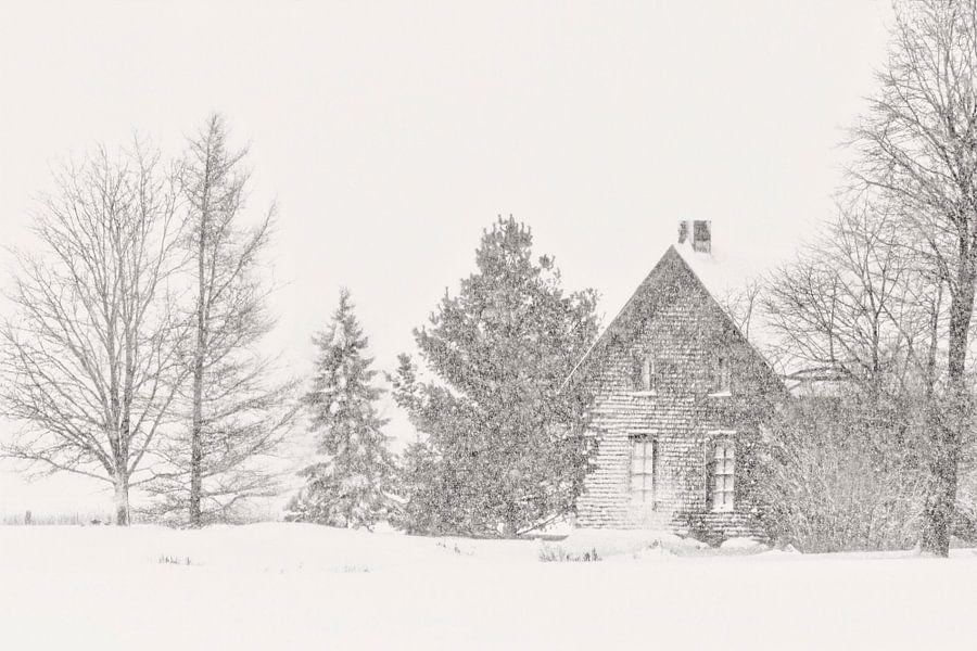 Vielle maison l'hiver van Renald Bourque
