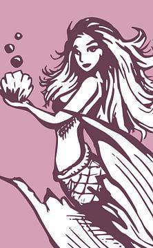 Meerjungfrau hält eine Muschel von Emiel de Lange