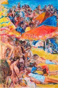 Strand met badgasten 2 van Paul Nieuwendijk