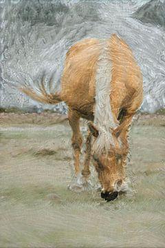 Pferd bei schwerem Wetter von Slimme Kunst.nl