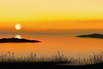 Uitzicht over de oceaan bij zonsondergang