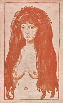 Weib mit rotem Haar und grünen Augen. Die Sünde, EDVARD MUNCH, 1902