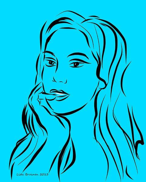Portret van een vrouw op turquoise achtergrond van Lida Bruinen