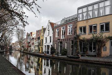 Reflectie van grachtenpanden in Utrecht van Kim de Been