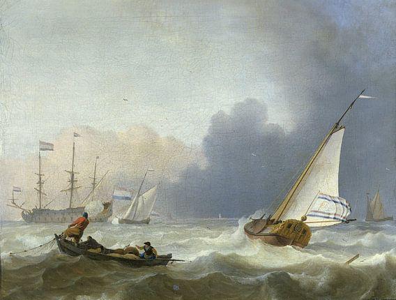 Woelige zee met een Nederlands jacht, Ludolf Bakhuysen van Meesterlijcke Meesters