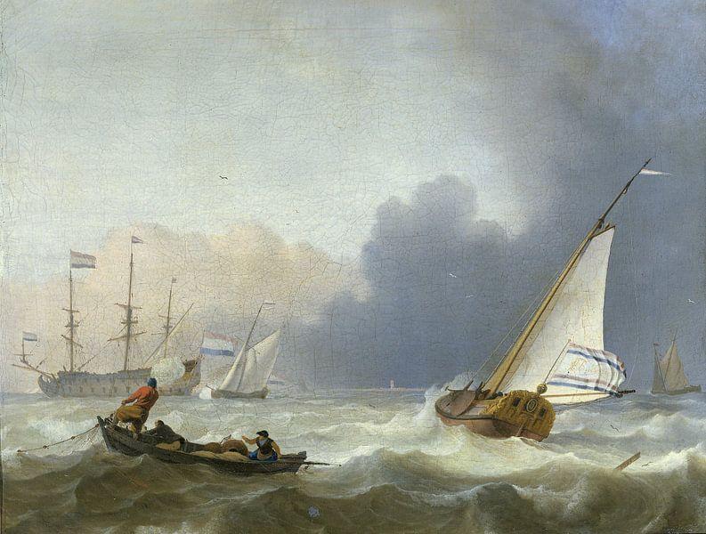 Woelige zee met een Nederlands jacht, Ludolf Bakhuysen
