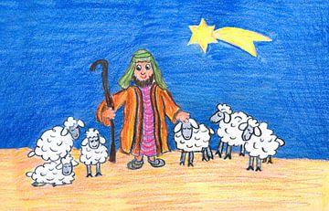Kinderzeichnung - Hirte mit Schafherde von Susanne Bauernfeind