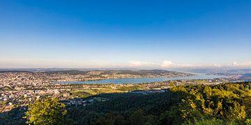 Vue de l'Uetliberg sur Zurich et le lac de Zurich sur Werner Dieterich