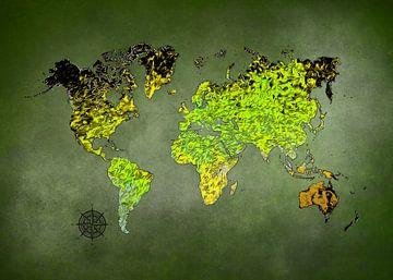 Weltkarte Kunst grün #Karte #Weltkarte von JBJart Justyna Jaszke