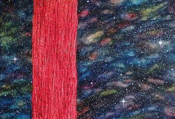 roze boom in de kosmos van Ingrid van El