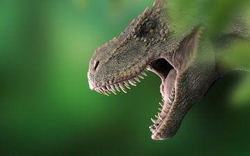 T-Rex kop in de bossen