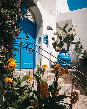 Blauwe voordeur omringd door planten in Sant'Angelo op het Italiaanse eiland Ischia