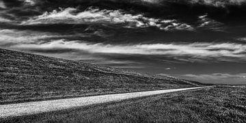 Friese Waddendijk richting Koehoal in zwart wit van