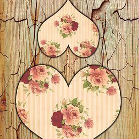 Zwei Rosenherzen . van Dagmar Marina