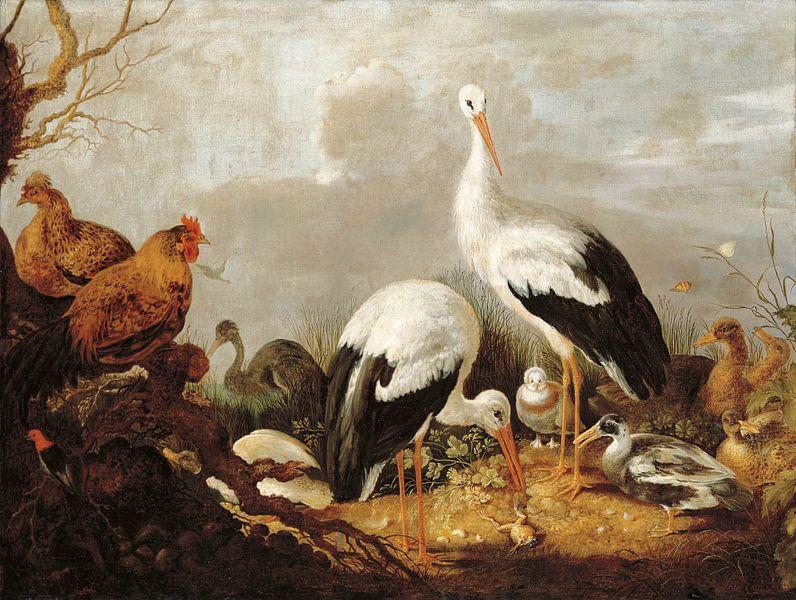 Ooievaars, wilde eenden, kippen, een reiger, een kikker en andere vogels in een rivierlandschap, Mel van Bridgeman Masters