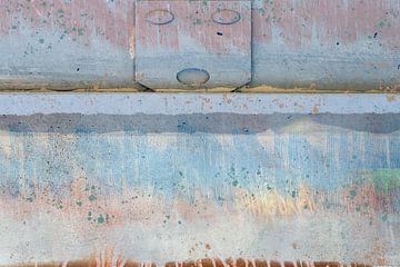 Smiley. Muur met kleurvlakken, blauwtinten van Rietje Bulthuis