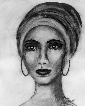 Porträt Frau mit Kopftuch abstrakt schwarz-weiß von Bianca ter Riet
