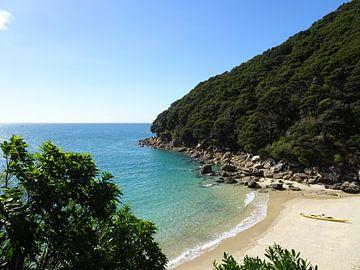 Abel Tasman nationaal park in Nieuw Zeeland; Stenen strand van Anne Groenendaal