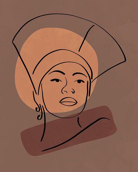 Lijntekening van een vrouw met hoed met twee organische vormen in bruin