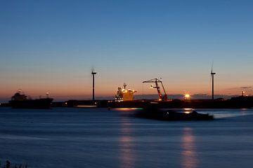Tatasteel (Corus hoogovens) IJmuiden bij nacht van Arjan Groot
