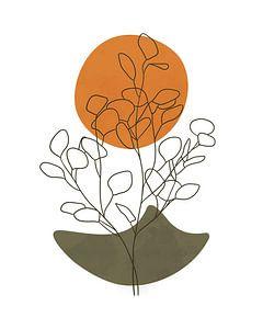 Minimalistische Landschaft mit einem Eukalyptusbaum und einer orangefarbenen Sonne von Tanja Udelhofen