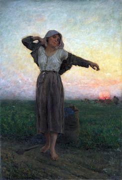 Jules Breton, Der müde Sammler - 1880 von Atelier Liesjes