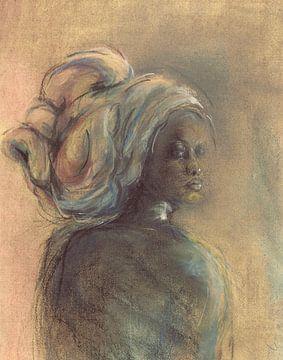 Femme africaine avec coiffe sur Ineke de Rijk