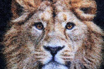 Kunstwerk eines Löwenkopfes mit Mähne von Bobsphotography