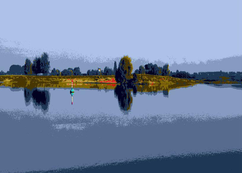 Zicht op de rivier op een zomerdag van Wilfried van Dokkumburg