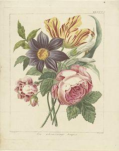 Boeket bloemen met pioenroos en tulp, Dirk Sluyter van