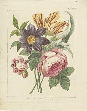 Boeket bloemen met pioenroos en tulp, Dirk Sluyter van Marieke de Koning